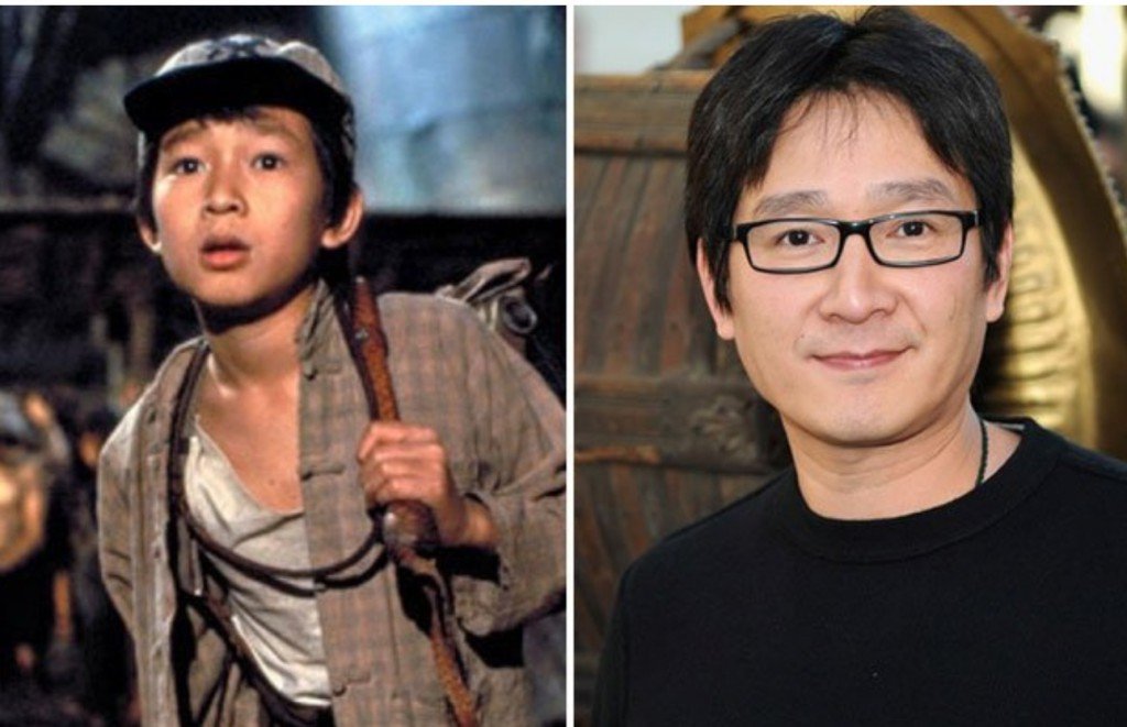 Johnathan Ke Quan as Short Round and pictured now.