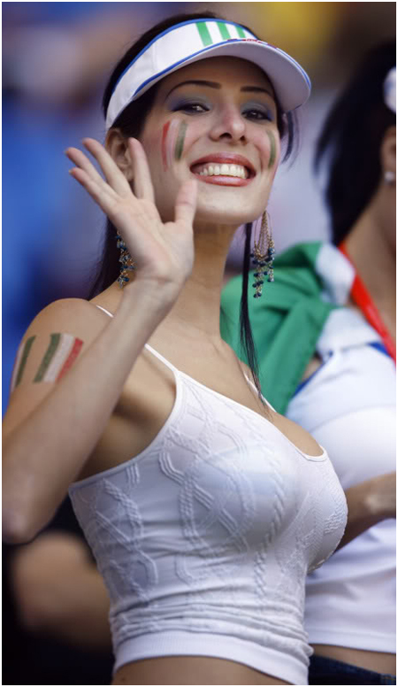 A very pretty Italian football supporter.