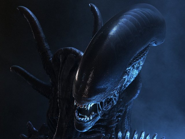 A close up of the Alien. The Alien is one of the iconic movie villains that scared you silly.