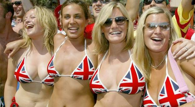 Four hot English World Cup fans in bikinis.
