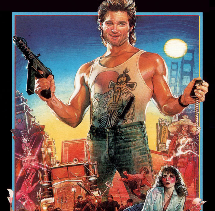 Kurt Russell as Jack Burton in John Carpenter's Big Trouble in Little China.