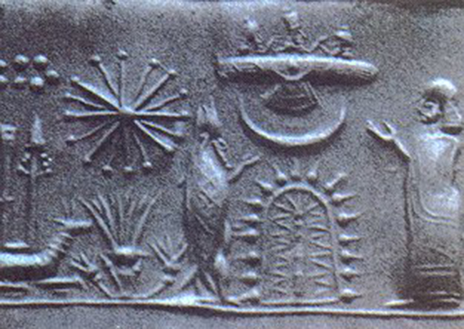 Mesopotamian Cylinder Seal possibly depicting an alien spacecraft - Ancient civilizations visited by Aliens.