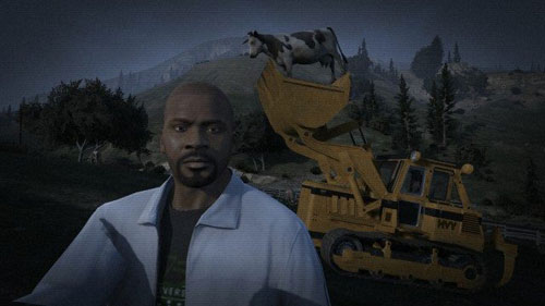 Franklin taking a selfie with a cow in a bulldozer on GTA V.