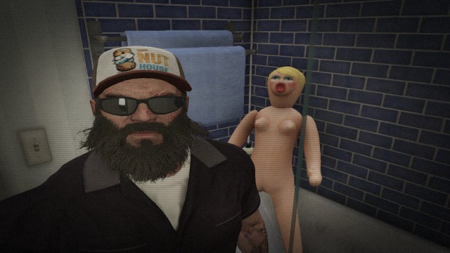 Trevor taking a selfie with a blow up doll on GTA V.