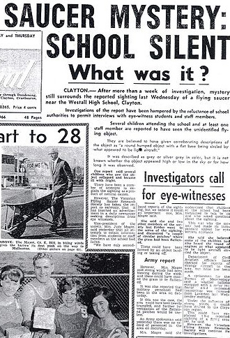 Newspaper article of the Westall U.F.O. sighting - Real Life X-Files.