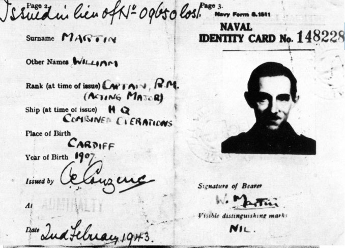 Photo of Major William Martin's naval identity card - 8 Greatest Hoaxes Of All Time