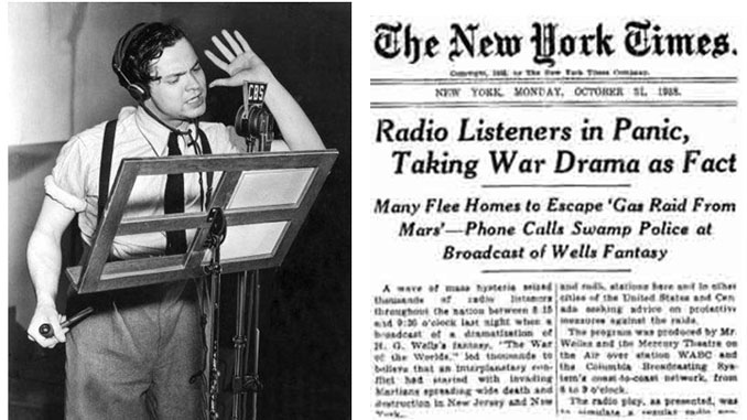 Photo of Orson Welles on the New York Times performing War Of The Worlds - 8 Greatest Hoaxes Of All Time