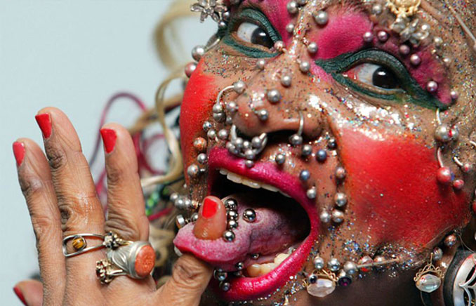 The World's most pierced woman Elaine Davidson - 10 Most Insane Body Modifications You Just Have To See