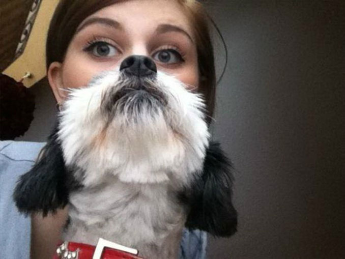 A photo of a girl that looks like she has half a dog's face - 20 Funny Animal Photos You Have To See