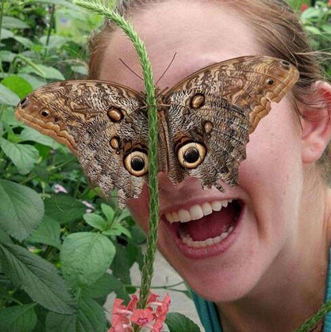 A photo of a woman with butterfly eyes - 20 Funny Animal Photos You Have To See