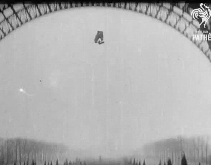 Franz Reichelt testing his parachute from the top of the Eiffel Tower - 10 REAL Photos With Unsettling Backstories