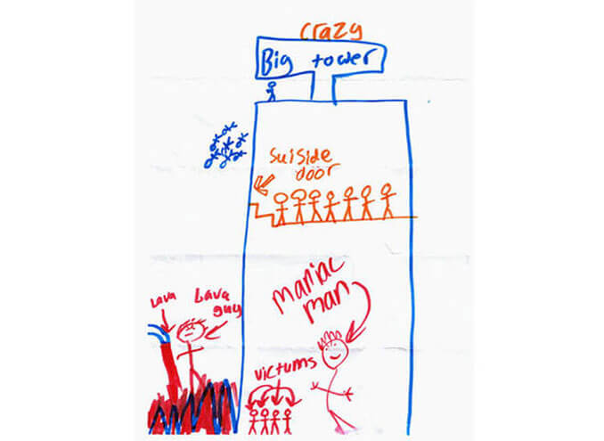 A child's drawing of a big tower - 22 Inappropriate Children's Drawings That Will Make You Laugh