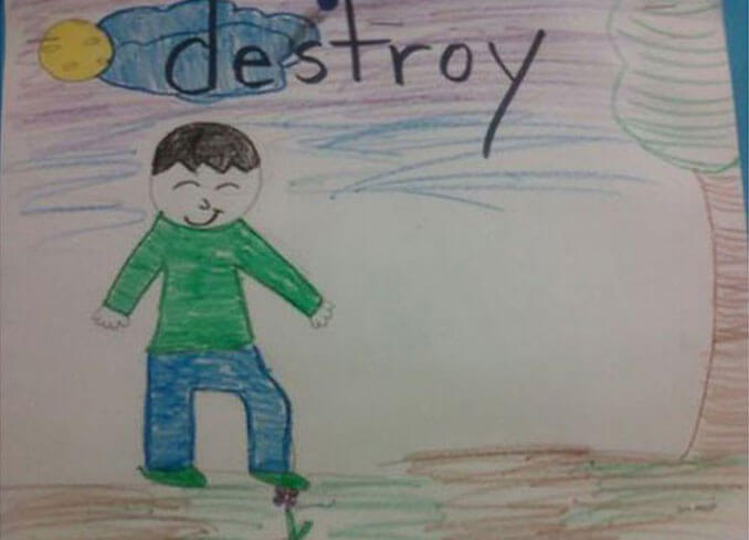 A child's drawing of a boy stepping on a flower - 22 Inappropriate Children's Drawings That Will Make You Laugh