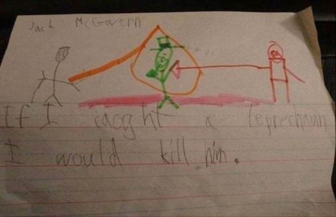 A child's drawing of them killing a Leprechaun - 22 Inappropriate Children's Drawings That Will Make You Laugh