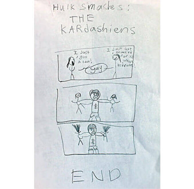 A child's drawing of The Hulk smashing the Kardashians - 22 Inappropriate Children's Drawings That Will Make You Laugh