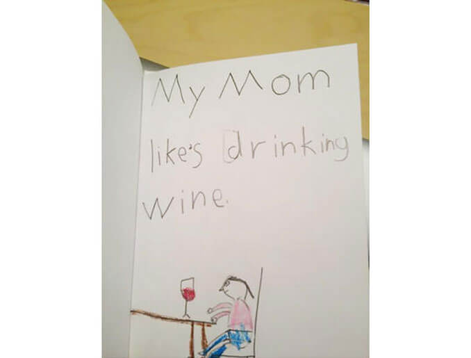 A child's drawing of their mum drinking wine - 22 Inappropriate Children's Drawings That Will Make You Laugh