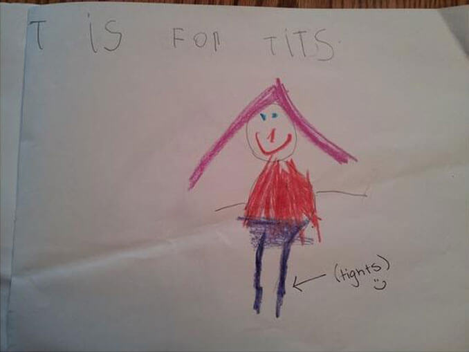 A child's drawing of a girl in tights - 22 Inappropriate Children's Drawings That Will Make You Laugh