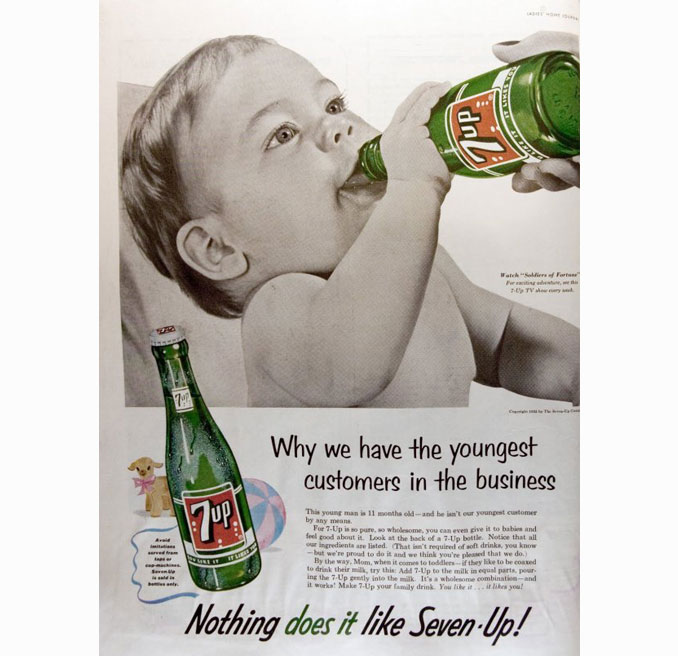 Vintage advertisement of a baby drinking 7Up - 10 Shocking Vintage Ads You Have To See To Believe