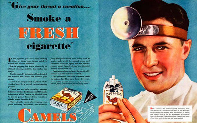 Doctor selling Camel cigarettes advertisement - 10 Shocking Vintage Ads You Have To See To Believe
