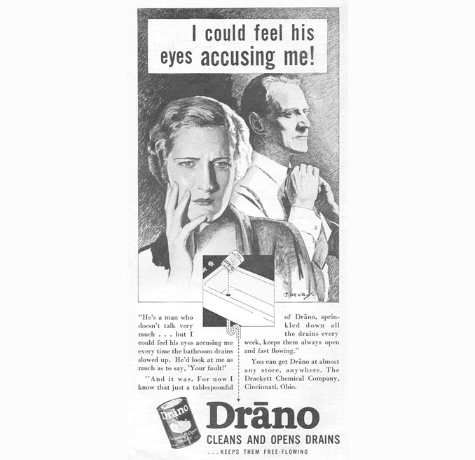 Vintage advertisement for Drano - 10 Shocking Vintage Ads You Have To See To Believe