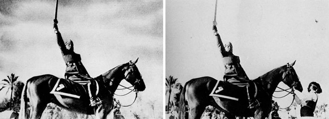 Benito Mussolini removed the horse handler from this famous photo that turned out to be a hoax.
