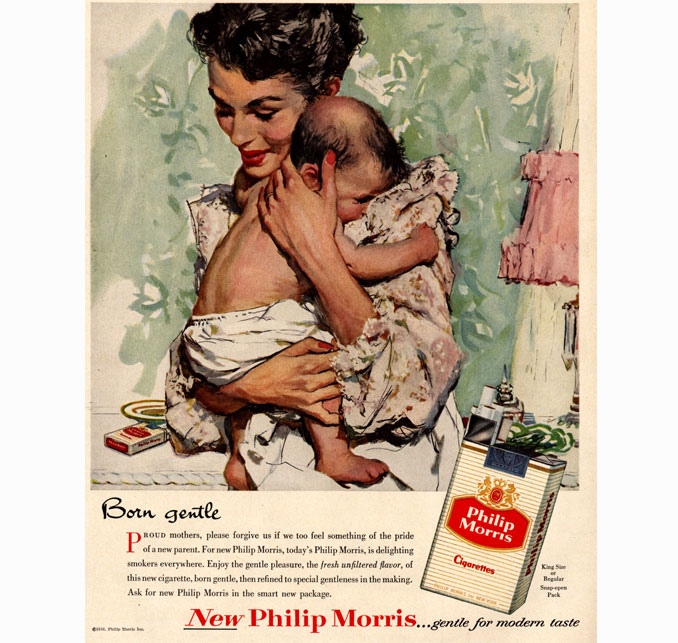 'Born gentle' Philip Morris cigarette advertisement - 10 Shocking Vintage Ads You Have To See To Believe