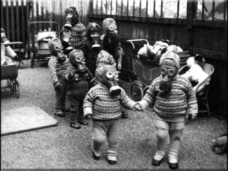 This real photo with a creep backstory is of children wearing gas masks in World War 2