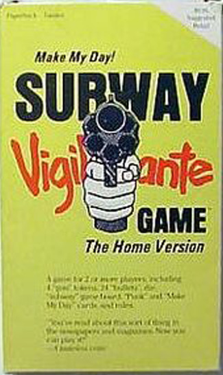 Subway vigilante is a weird and offensive board game that involves players taking a ride from Brooklyn to the Bronx