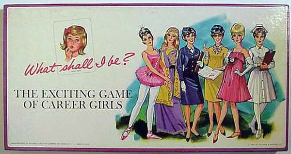 This offensive board game from the 60s is titled What Shall I Be? The exciting game of career girls
