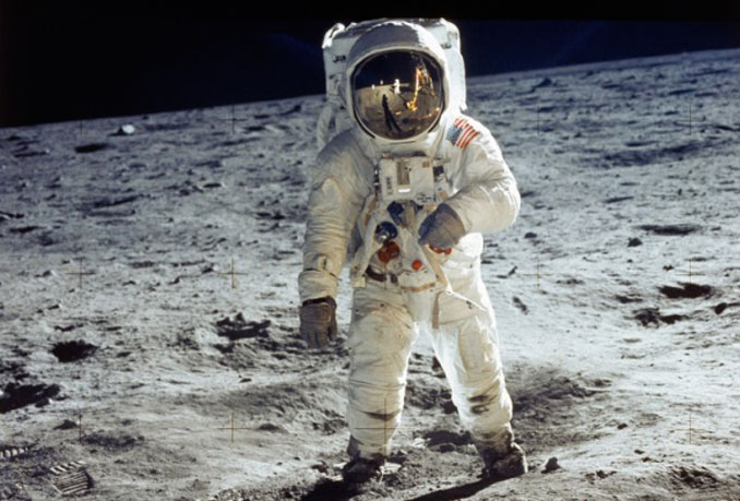 Man walking on the moon.