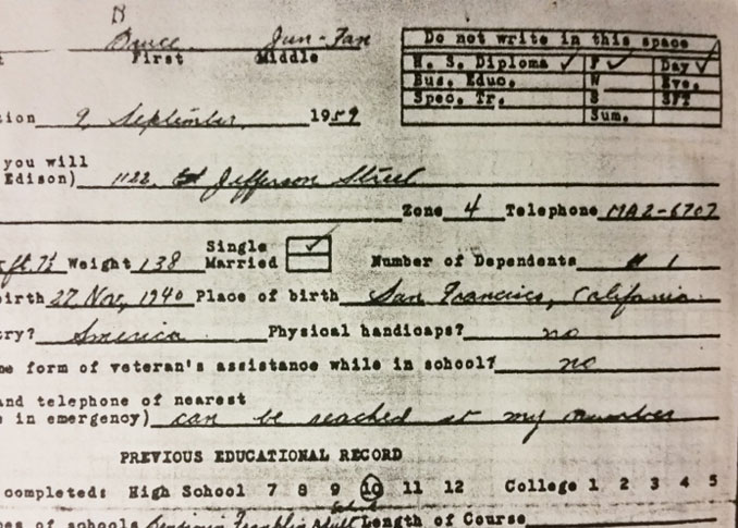 Bruce Lee's school enrollment form.