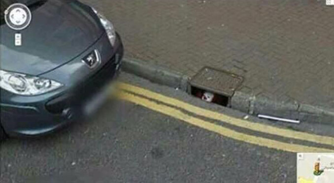 A clown in the sewer seen on Google Maps.