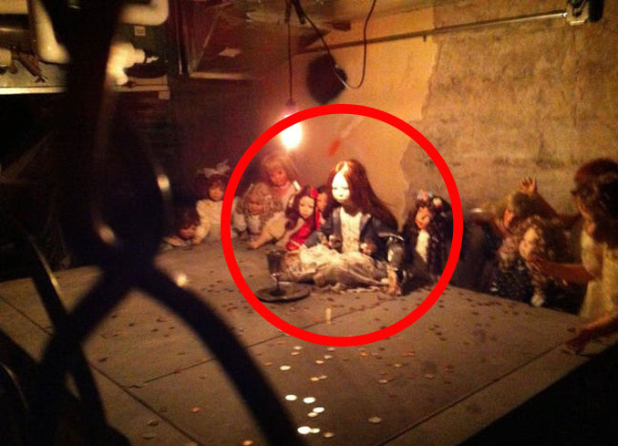 Creepy dolls discovered in the basement of Hanny's restaurant and bar.