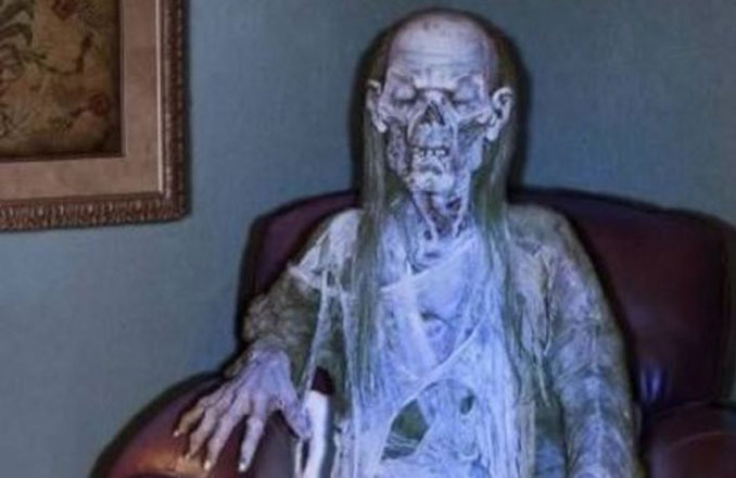 The mummified remains of an old lady discovered in a house in Roses, Spain.