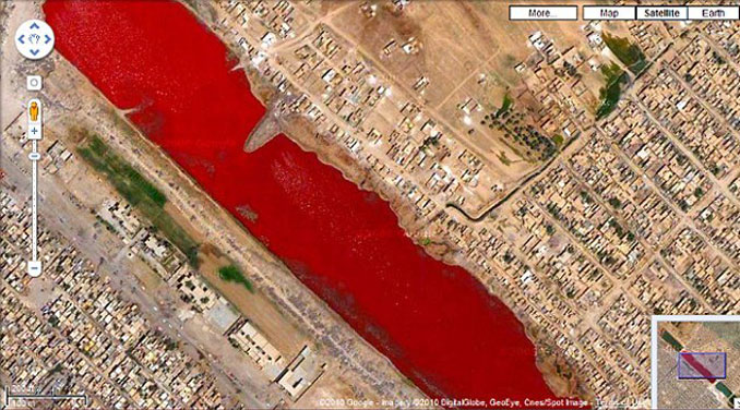 A blood red river near Sadr City, Iraq seen on Google Maps.