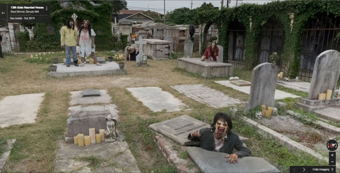 Zombies in a graveyard seen on Google Maps.