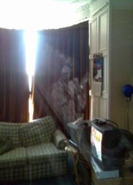 A photo of a ghost in a house in Scotland.