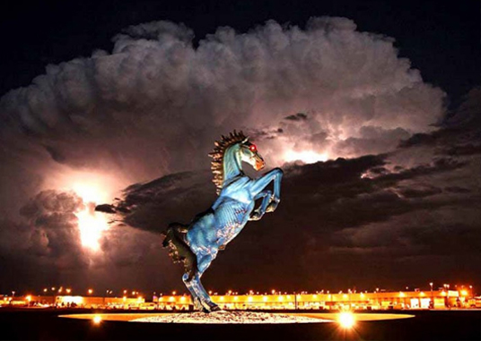 The Blue Mustang at Denver International Airport is one of many creepy urban legends attached to the property.