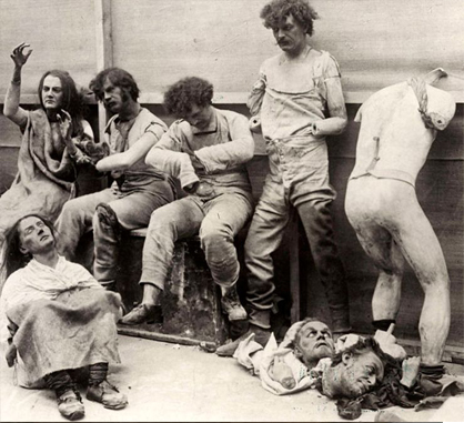 This is just one of many real creepy photos, this one depicts mannequins after a fire at Madam Tussaud's Wax musuem