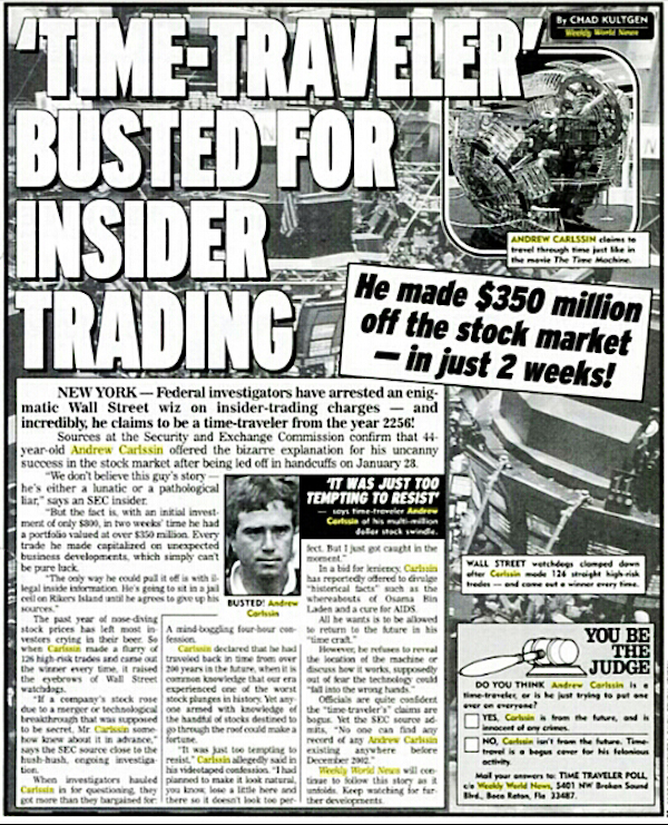 Time traveler Andrew Carlssin makes a fortune on the stock exchange - 10 REAL Cases Of Time Travel That Cannot Be Explained