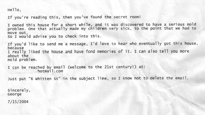 Mysterious note found in secret room - 10 Creepiest Secret Rooms Ever Discovered