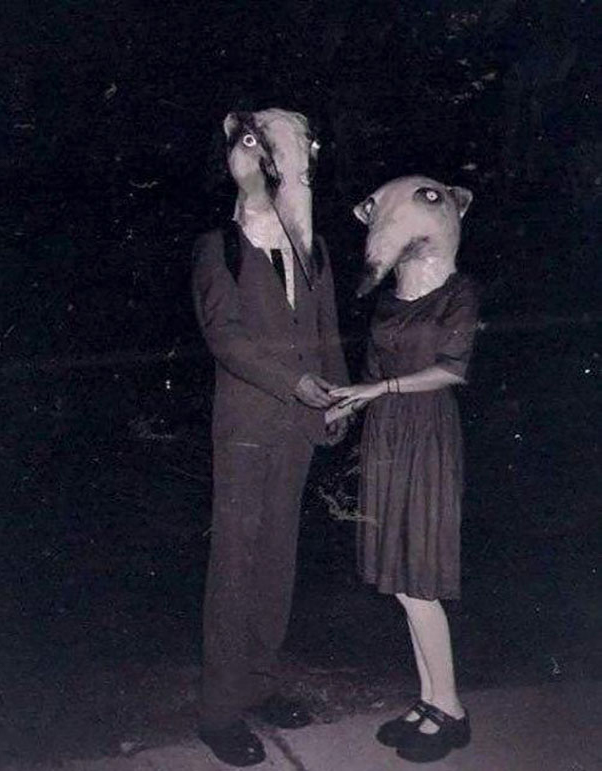 A couple dressed in badger Halloween costumes - The Scariest Halloween Costumes of All Time