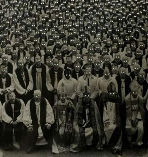 Priests and Bishops with glowing eyes - These Creepy Photos Cannot be Explained