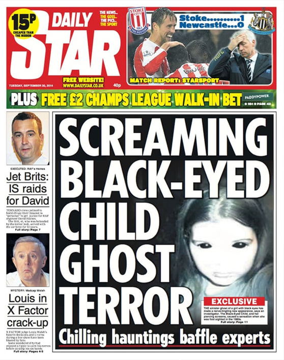 Front page story about black eyed children in newspaper - Creepy Black Eyed Children Caught on Camera