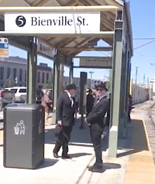 Image of the Men in Black near the Bienville Street station outside the French Quarter in New Orleans, Louisiana - Real Men in Black Sightings Caught on Camera