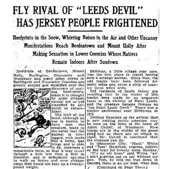 1909 Newspaper clipping about the Jersey Devil