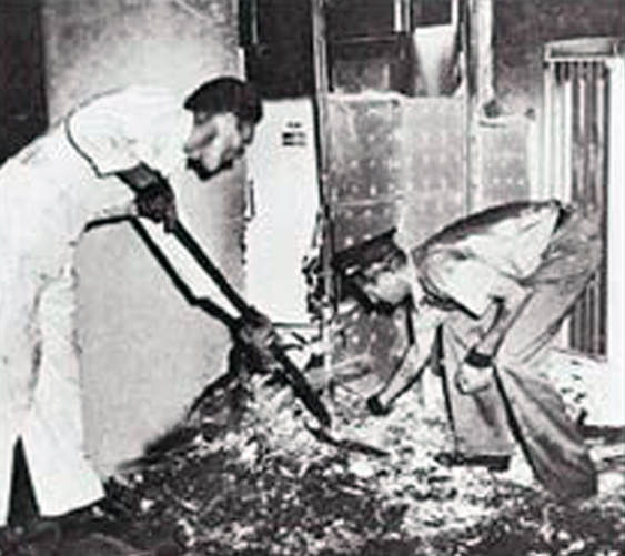 A black and white photo of the scorched remains of John Irving Bentley.