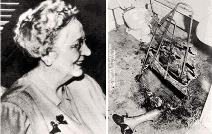 A side-by-side image comparison of Mary Reeser. On the left she is alive. On the right are the charred remains of her body.