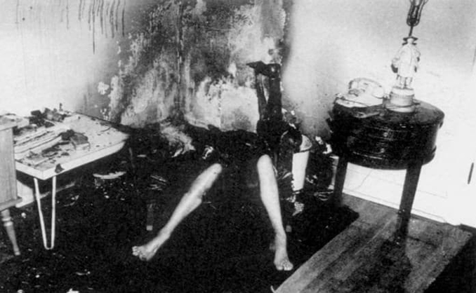 The burnt crime scene and body of Robert Francis Bailey.