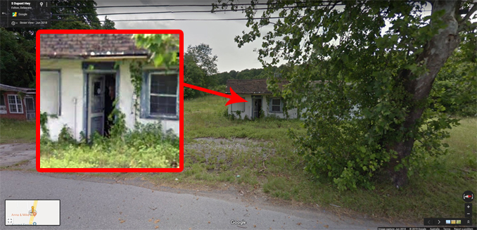 Scary picture of a face in a shack on Google maps